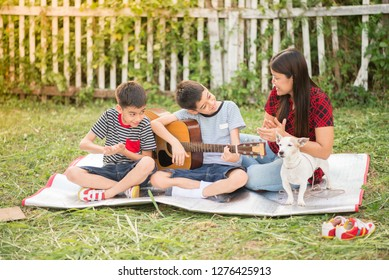 Single mom and sons play guitartogether with fun  in the park