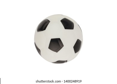 Single new clean small rubber toy in form of soccer ball isolated on white background. Top view. Clipping path