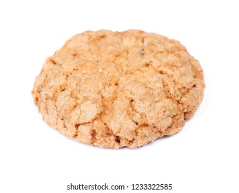 Single oatmeal cookie isolated on white background