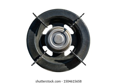 Single old gas burner, top view, isolated on a white background with a clipping path.