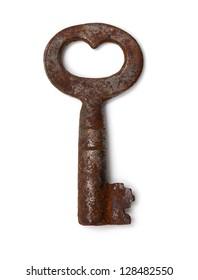 single old key isolated on white background