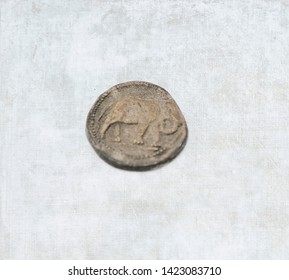 Single old Roman elephant coin