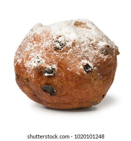 Single oliebol covered with sugar, traditional Dutch pastry for New Year's Eve isolated on white background