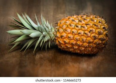 Single one full whole organic pineapple fruit on wooden background ripe fully grown mature, laid down on the side