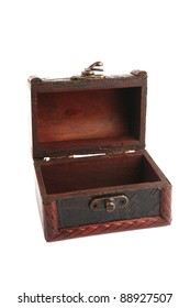 single open wooden chest with metal ornament