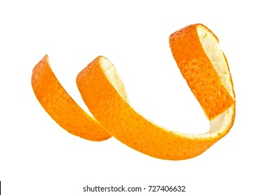 Single orange peel on a white background