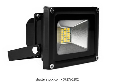 Single Outdoor 20W Waterproof RGB LED Floodlight Or Lawn Light, Or landscape Light Isolated On White Background, Close Up