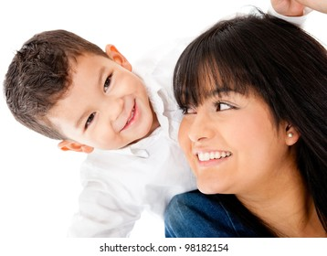 Single parent family portrait - isolated over a white background