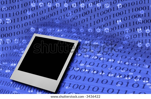 single photo frame against abstract binary code background (the binary code is false)