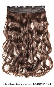 Single piece clip in auburn brown wavy synthetic hair extensions