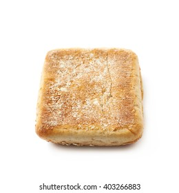 Single piece of the white bread bun isolated over the white background