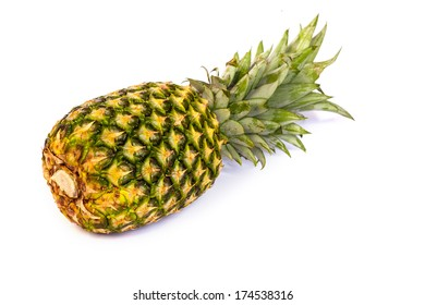 Single pineapple isolated on a white background