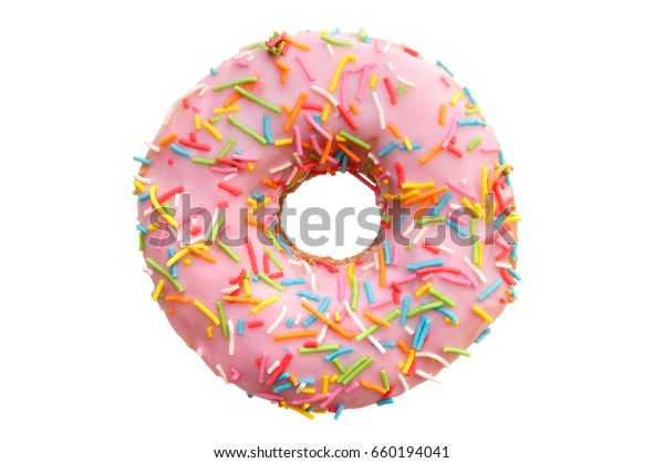 single pink donut, isolated on white background