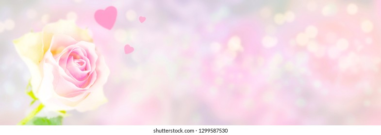 Single pink rose and hearts in front of pastel background