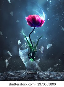 A single pink tulip is burst forth from a broken light bulb