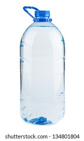 Single plastic bottle of water isolated on white background