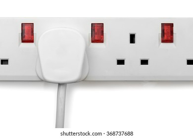 a single plug in a plug bar isolated on a white background
