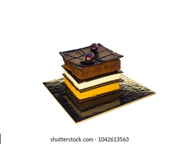 A single portion of layerd chocolate cake