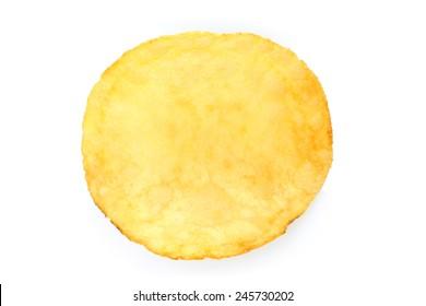Single potato chip on white background close-up
