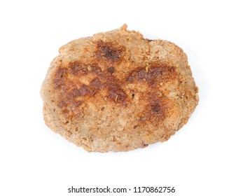 Single prepared small hand made cutlet isolated over white background