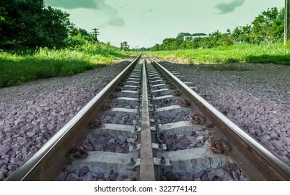 Single railroad track near road.