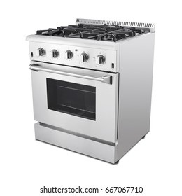 Single Range Cooker with Warming Drawer Isolated on White Background. Side View of Stainless Steel Gas Stove with a Large-Capacity Convection Oven and Six Burner Cooktop Hob