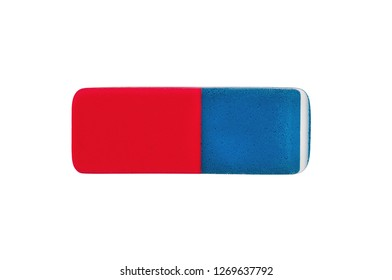 Single rectangular rubber eraser for pencil and pen ink isolated on white background. Clipping path - image