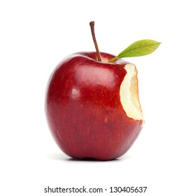 Single red apple with a bite mark, isolated on white background