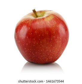 Single red apple isolated on white background