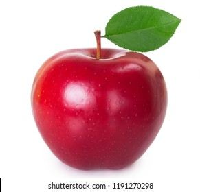 single red apple with leaf isolated on white background