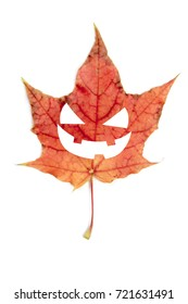 Single red autumn leaf with Halloween face, isolated