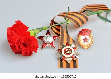 Single red carnation tied with Saint George ribbon and orders of Great patriotic war on gray