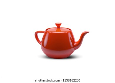 Single Red colourful Teapot on Isolated Background