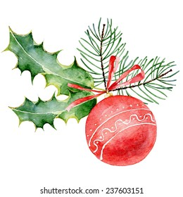 Single red decorated Christmas ball on white background. Watercolor  illustration