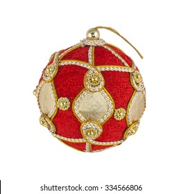 A single red and gold Christmas decoration bauble, isolated on white background.
