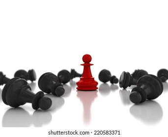 Single red pawn. Last one standing Business strategy concept background