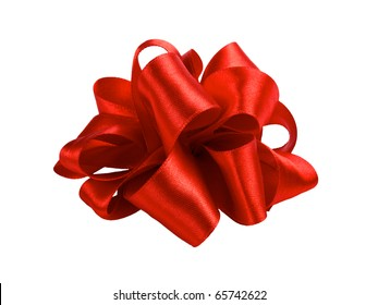 single red ribbon satin gift bow isolated on white