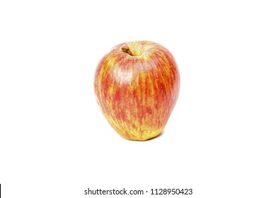Single red ripe apple isolated on white background