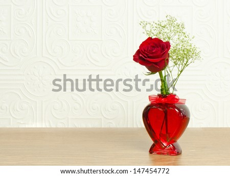 Single Red Rose Heart Shaped Vase Stock Photo Edit Now 147454772
