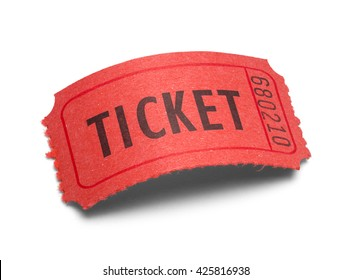 Single Red Ticket with a Curved Arch Isolated on White Background.