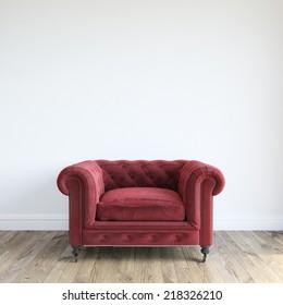 Single Red Velvet Armchair In Minimalist Interior Room