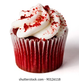 A Single Red Velvet Cupcake on White (With Shadow)