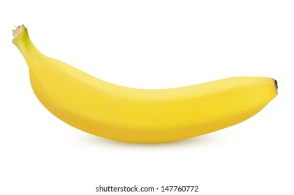 Single ripe banana isolated on white background with clipping path