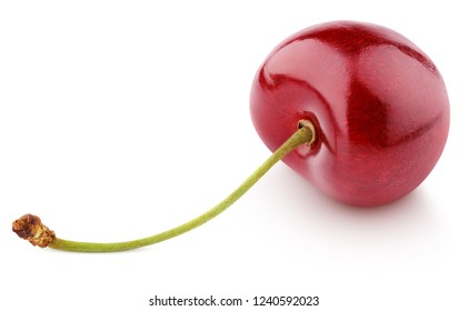 Single ripe cherry with stem lies isolated on white background with clipping path