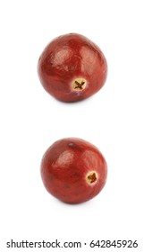 Single ripe cranberry isolated over the white background, set of two different foreshortenings