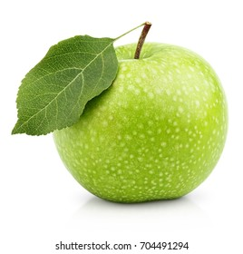 Single ripe green apple fruit with green leaf isolated on white background with clipping path