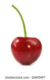 Single ripe red cherry, isolated on white.
