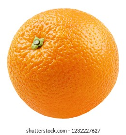 Single ripe whole orange citrus fruit isolated on white background. Orange with clipping path. Full depth of field.