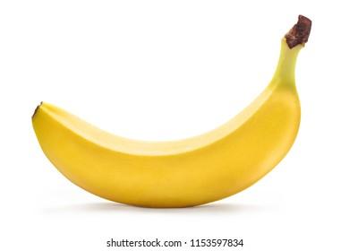 Single ripe yellow banana, isolated on white background