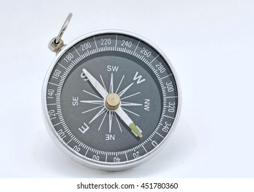 a single round compass on a white surface
